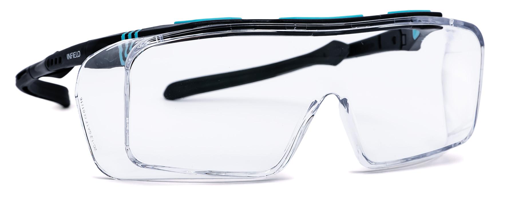 Arbeitsschutzbrille, Überbrille, die über die vorhandene Brille gezogen werden kann