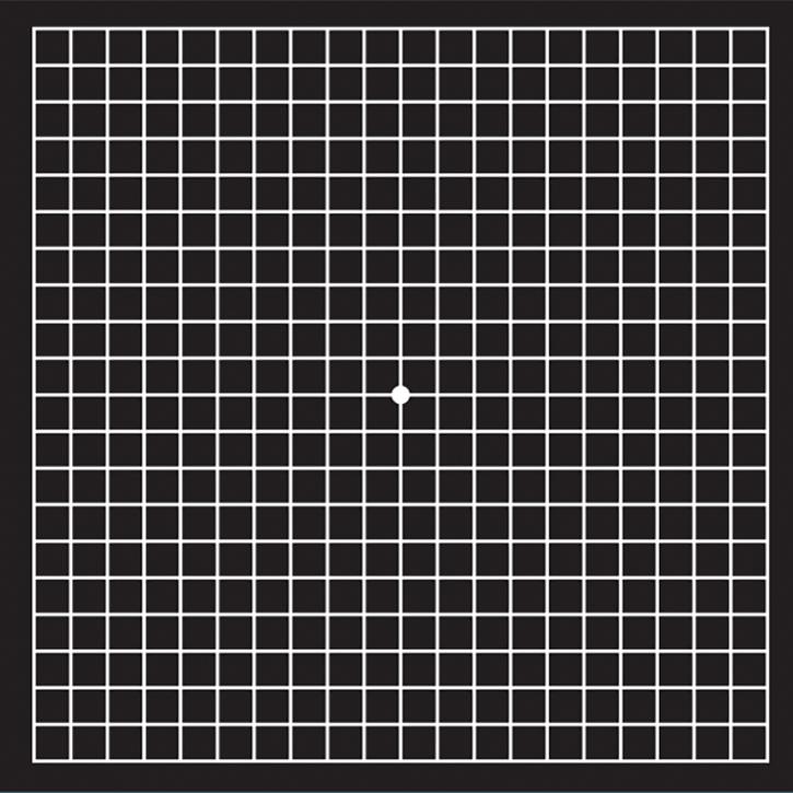 Amsler Gitter Test. Schwarzer Hintergrund, der mit Strichen durchzogen ist. Zentral ist ein weißer Punkt vorhanden