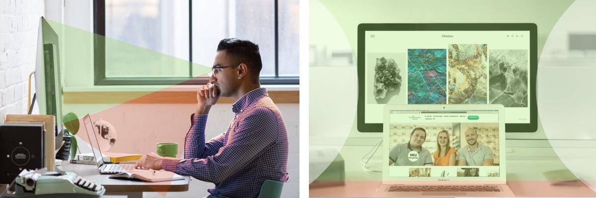 Das Bild zeigt die Sicht mit einer Gleitsicht-Bildschirmbrille vor dem Computerbildschirm. Der Grün markierte Bereich ist scharf bis 1 m.