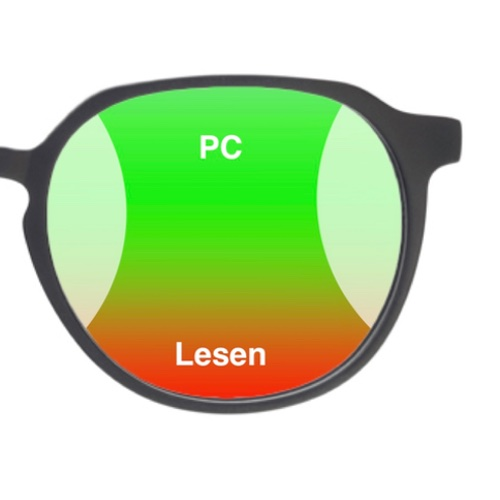 Das Bild zeigt eine herkömmliche Bildschirmbrille mit der Optimierung für den PC