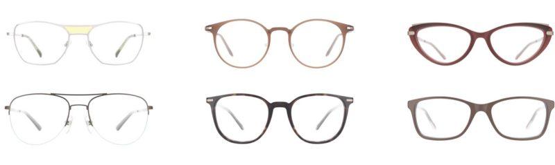 Das Bild zeigt sechs Brillenfassungen.
