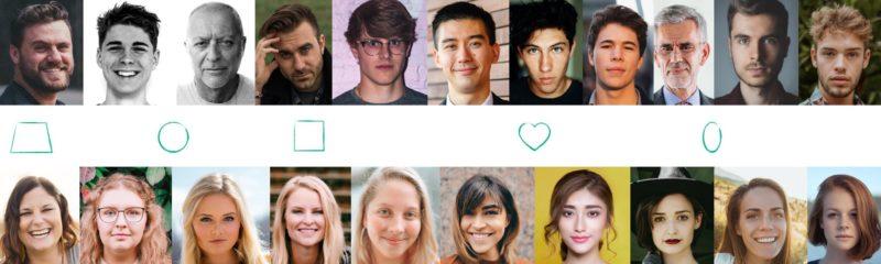 Das Bild zeigt verschiedene Gesichtstypen bei Männern und Frauen,. Der erste Schritt um zu beantworten welche Brille zu Ihnen passt, ist die Auswahl ihrer Gesichtsform.