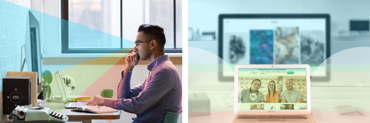 Das Bild zeigt die Sicht und die unterschiedlichen Sehbereiche einer Gleitsichtbrille vor einem Computerbildschirm und einem Laptop.