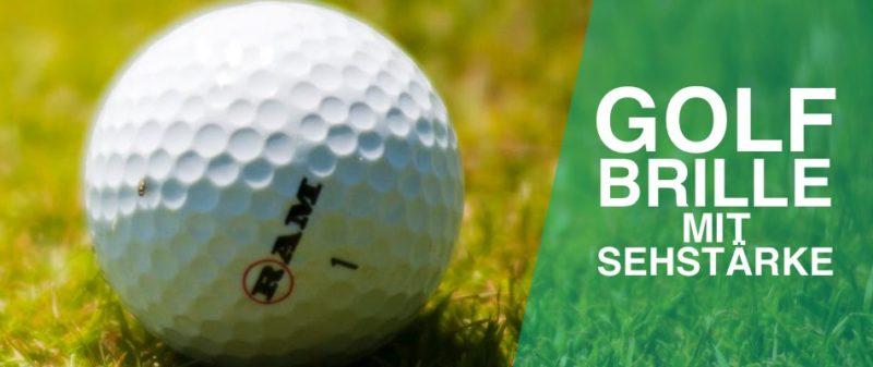 Das Bild zeigt den Text Golfbrille mit Sehstärke und einen Golfball