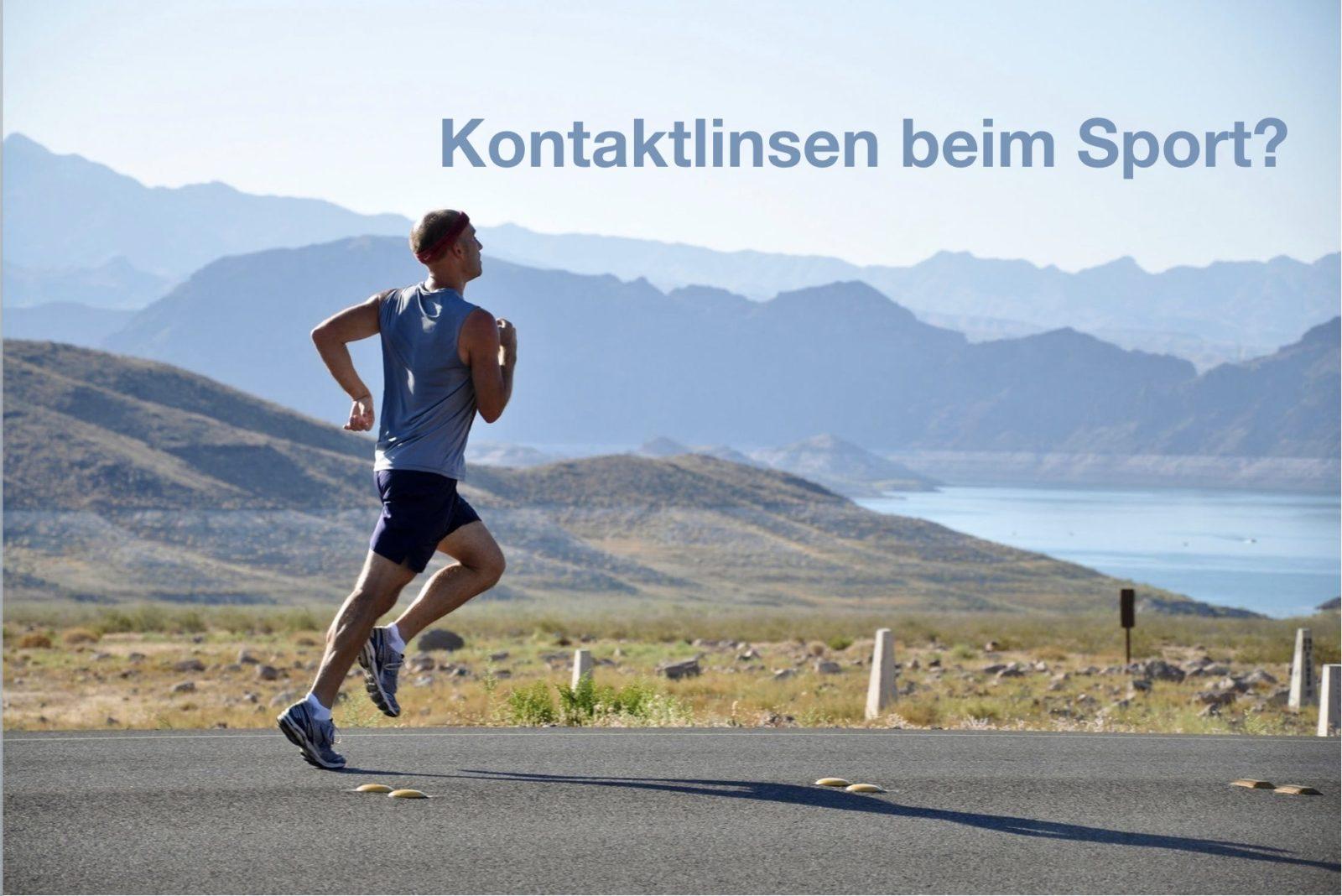 """Das Bild zeigt einen Läufer. Es ist ein Text zu lesen mit den Worten """"Welche Kontaktlinsen beim Sport"""""""
