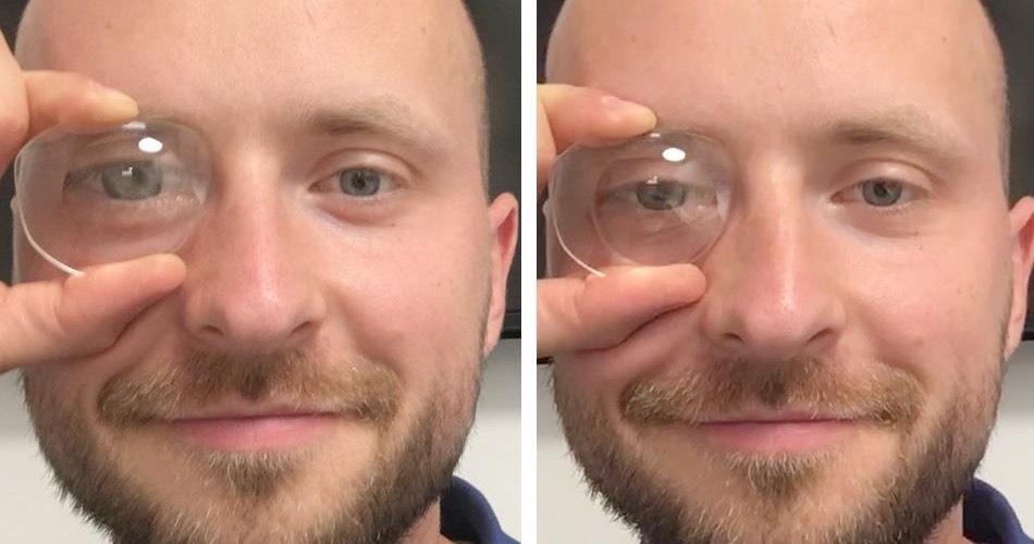 Das Bild zeigt Lentikulargläser auf der rechten Seite im Vergleich zu einem normalen Brillenglas