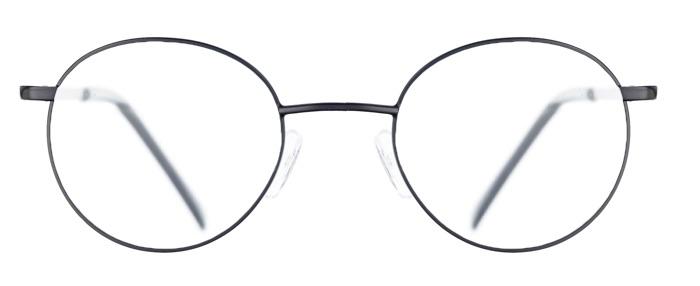 Schwarze runde Brille, die als Lupenbrille angefertigt werden könnte.
