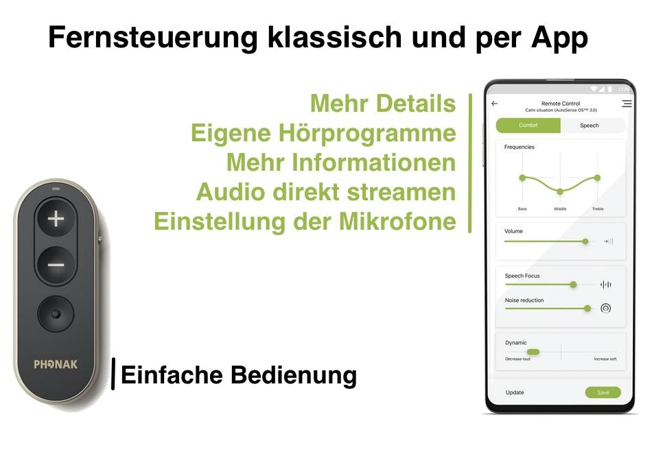 Das Bild zeigt mögliche Fernbedienungen für im Ohr Hörgeräte. Die App und die klassische Fernbedienung