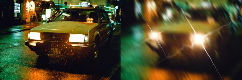 Das Bild zeigt links normale Sicht und rechts die Sicht mit einem Keratokonus bei Nacht ohne speziell korrigierende Kontaktlinsen.