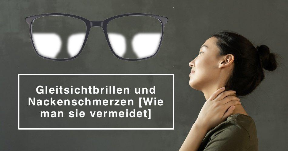 Das Bild zeigt eine Frau mit Nackenschmerzen und eine Gleistichbrille