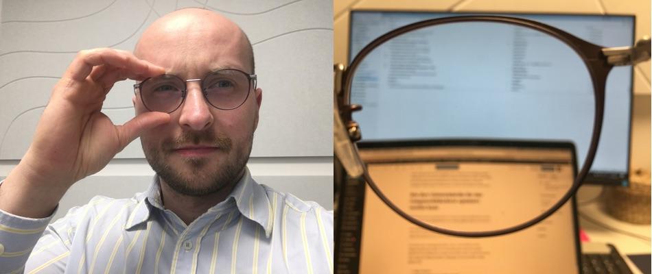 Das Bild zeigt einen Unscharfen Bildschirm mit der Sicht durch die Gleitsichtbrille.