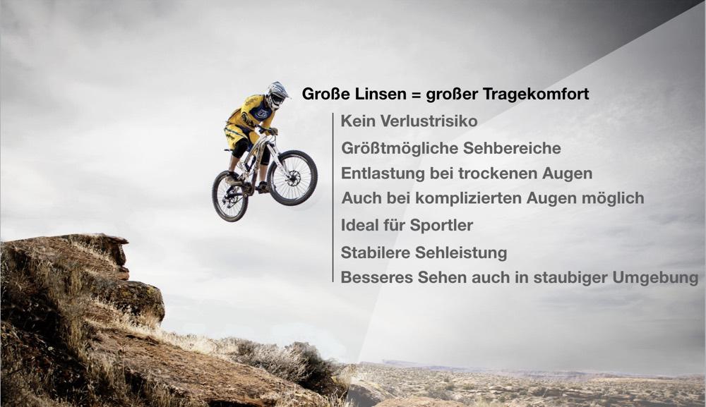 Das Bild zeigt einen Mountainbiker und die Vorteile von Sklerallinsen beim Sport