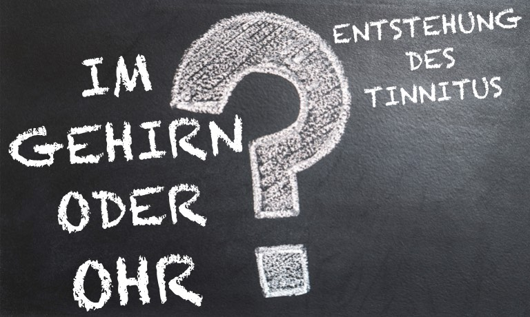 Tafel mit der Frage: Tinnitus Entstehung im Gehirn oder Ohr