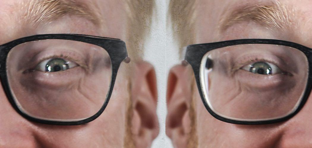 Das Bild zeigt zwei Brillen die eine verkleinert mehr und die andere weniger