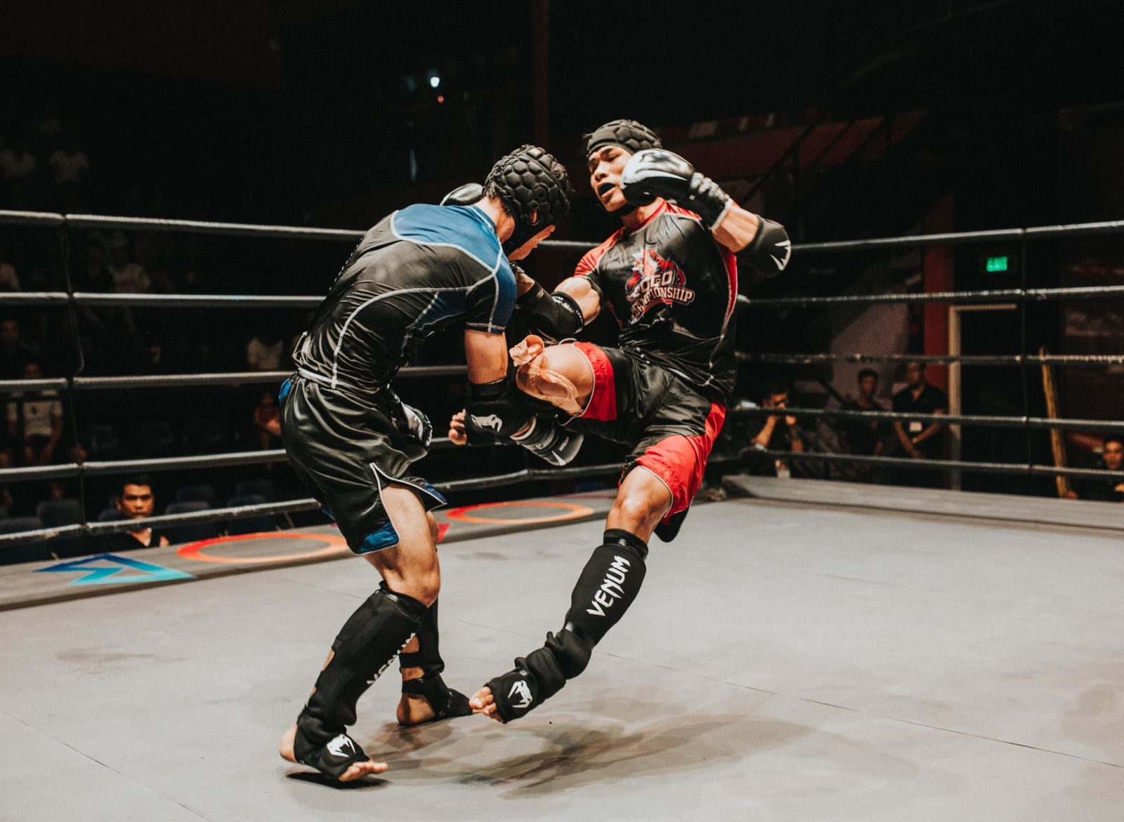 Das Bild zeigt zwei Kontrahenten im Vollkontaktkampfsport. Kontaktlinsen beim Sport können hier bedingt durch Schläge oder Tritte im Gesicht von Vorteil sein.
