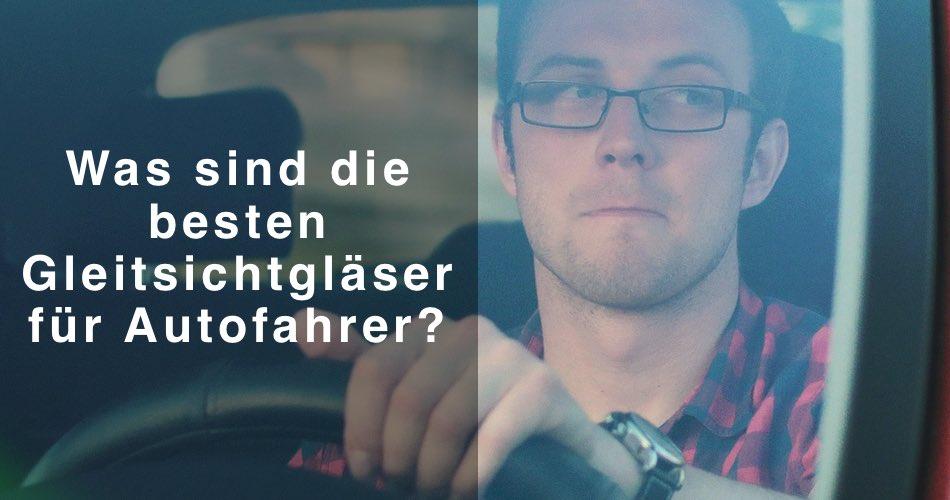 Das Bild zeigt einen Autofahrer mit Brille und den Titel Was sind die besten Gleitsichtgläser für Autofahrer?