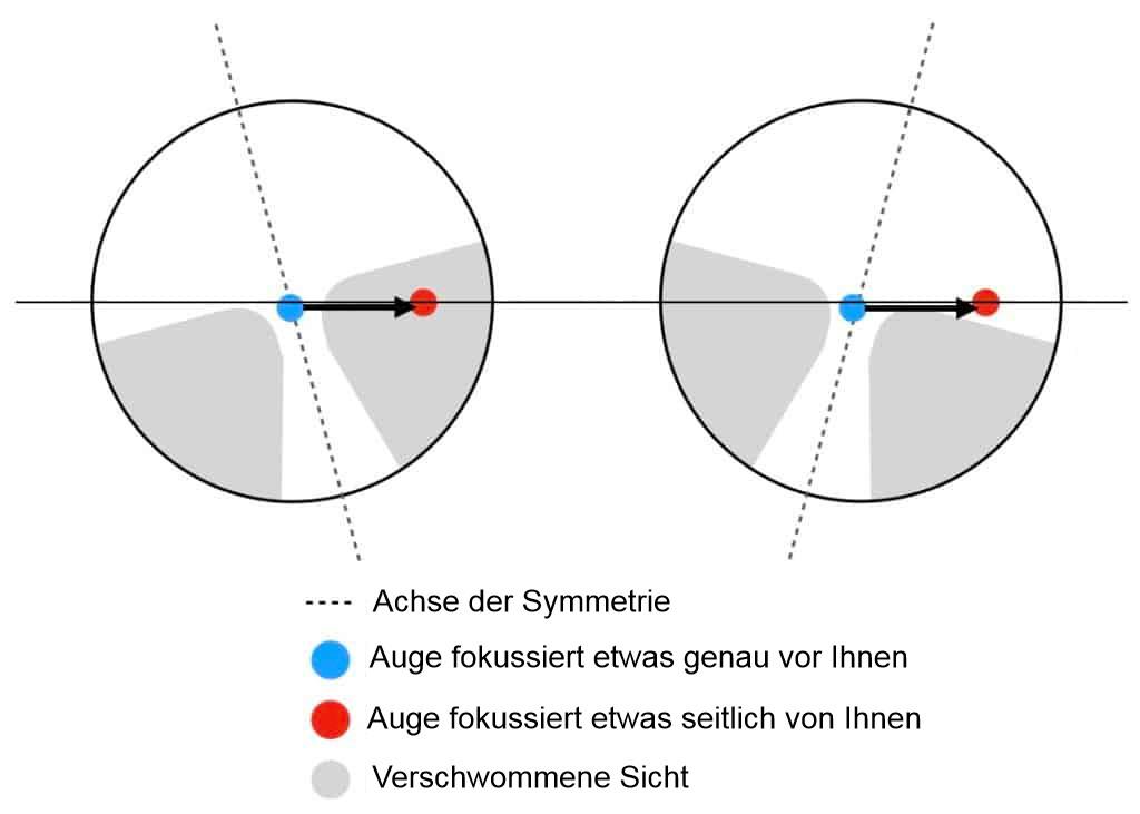 Segmente von asymmetrischen Gleitsichtbrillen