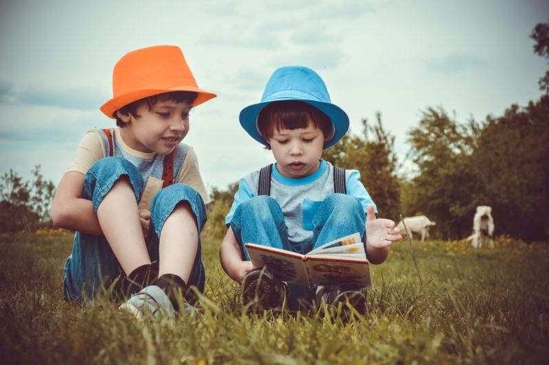 Das Bild zeigt zwei jungen im Gras, die ein Buch anschauen