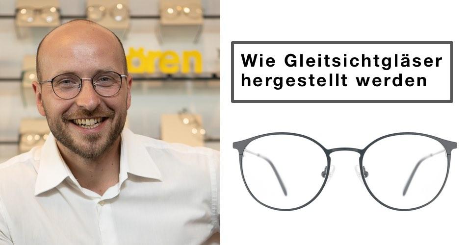 Das Bild zeigt Augenoptikermeister Michael Penczek und den Text wie Gleitsichtgläser hergestellt werden